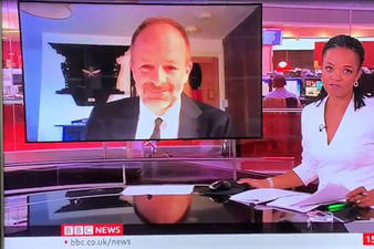 Lukwesa Burak interviewing Craig Lawrence on BBC News about Gurkha contribution in Burma during #VJDay75