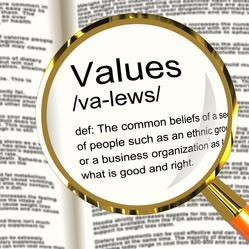 Our Core Values. Image of dictionary with magnifier over the word value which is the common belief of people or organizations of what is good and right.