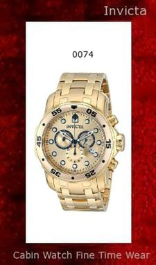 Watch Information Brand, Seller, or Collection Name Invicta Model number 0074 Part Number 0074 Model Year 2014 Item Shape Round Dial window material type Synthetic sapphire Display Type Analog Clasp Fold-Over Clasp with Safety Case material Stainless steel Case diameter 48 millimeters Case Thickness 17 millimeters Band Material Gold-plated stainless steel Band length Men's Standard Band width 26 millimeters Band Color Gold Dial color Gold Bezel material Stainless steel Bezel function Unidirectional Calendar Date Special features Chronograph, Screw down crown, Luminous, measures-seconds Item weight 1.1 Pounds Movement Swiss quartz Water resistant depth 660 Feet