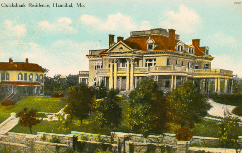Historic Postcard of Rockcliffe Mansion, a House Museum and Bed and Breakfast in Hannibal Missouri