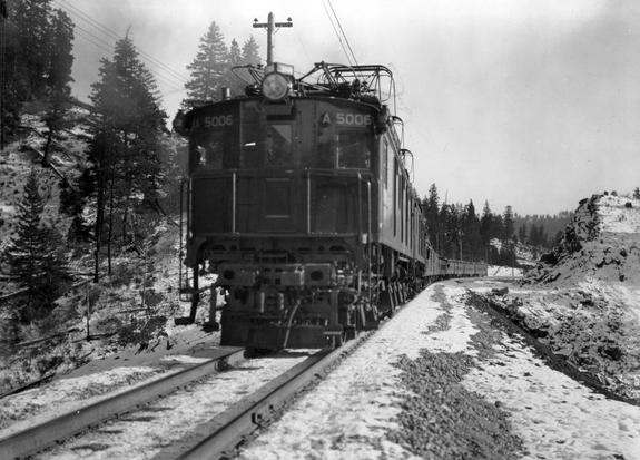 The Oriental Limited's first run with a Z-1 electric locomotive as power through the Cascade Mountains, April 29, 1928.