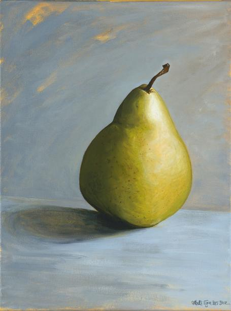 The Pear. 40x30cm. Acrylic still life painting of pear by Orfhlaith Egan Art, Berlin and Cornamona.