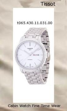 Watch Information Brand, Seller, or Collection Name Tissot Model number T0654301103100 Part Number T0654301103100 Model Year 2012 Item Shape Round Dial window material type Anti reflective sapphire Display Type Analog Clasp deployant-buckle Case material Stainless steel Case diameter 40 millimeters Case Thickness 10 millimeters Band Material Stainless steel Band length Men's Standard Band width 18 millimeters Band Color Silver Dial color White Bezel material Stainless steel Bezel function Stationary Calendar Day and date Special features Swiss Automatic Movement, ETA 2836-2- Engine, Date, Hour, Minute, Second Item weight 4.96 Ounces Movement Swiss automatic Water resistant depth 330 Feet