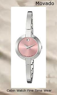 Product Specifications Watch Information Brand, Seller, or Collection Name Movado Model number 0606596 Part Number 0606596 Model Year 2011 Item Shape Round Dial window material type Synthetic sapphire Display Type Analog Clasp Jewelry Clasp Case material Stainless steel Case diameter 25 millimeters Case Thickness 5.8 millimeters Band Material Stainless steel Band length Women's Standard Band width 5 millimeters Band Color Silver Dial color Pink Bezel material Stainless steel Bezel function Stationary Item weight 15.84 Ounces Movement Swiss quartz Water resistant depth 99 Feet