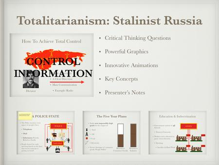 Case Study: Totalitarianism Stalinist Russia PowerPoint