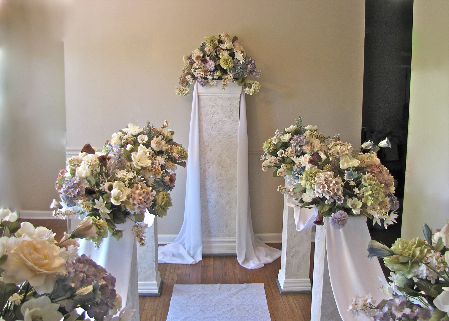 Rent Six Aisle Pillars An Altar Pillar With Florals Draping For 400 Under