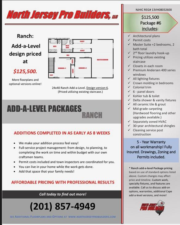 North Jersey Pro Builders | Ranch add-a-level floor plan 6