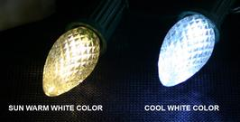 Universal Concepts offers LED c7 and c9 Christmas light bulbs in a warm white and cool white version, as well as many other colors.