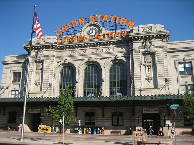 The front of historic Denver Union Station building, facing Wynkoop Street.
