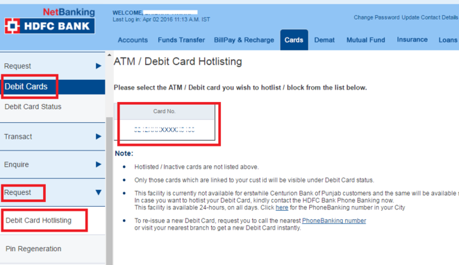 Hdfc forex card lost