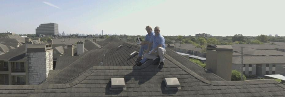 Bob and Pete Sitting on the Roof of a 3-Story Building