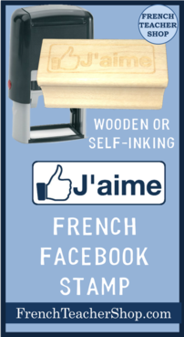 French Facebook Stamps: Available as a wooden rubber stamp or self-inking stamp. J'aime facebook stamp for French class.