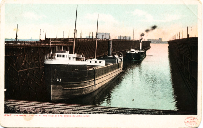 Steamers Loading at Mesabi Ore Docks, Duluth, Minnesota, circa 1898.