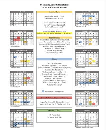 St. Rose-McCarthy Year-at-a-Glance Calendar