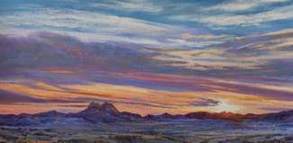 The Lights of Alpine Texas, pastel landscape painting, Alpine's Twin Peaks at sunset by Lindy Cook Severns