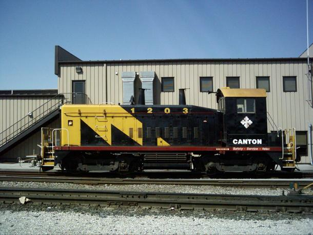 Locomotive number CTN 1203, an EMD SW1200 diesel-electric switcher engine of the Canton Railroad taken in Baltimore, Maryland.