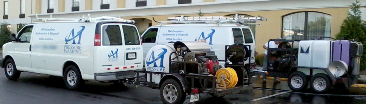 A1 Pressure Washing trailer mounted commercial units for pressure washing Knoxville with waste water equipment