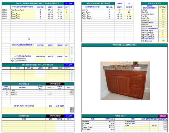 Cutlist Software - CabinetCRUNCHER Cabinet Making Software