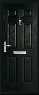 6 panel solid composite door in black