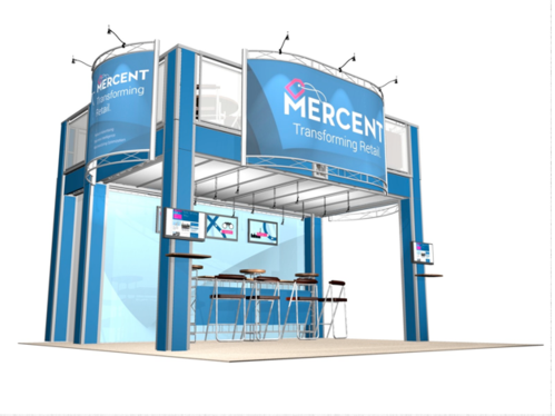 Mercent two story trade show booth front view.