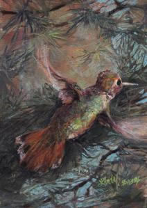 Jeweled Hovercraft, hummingbird miniature pastel by Lindy C Severns, Texas artist