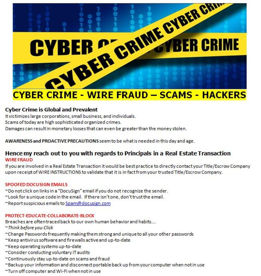 Cyber Crimes - Wire Fraud