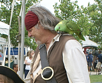 Pirate with parrot in Charleston SC