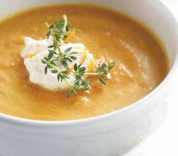 chilled roasted carrot and ginger soup with honey whipped cream