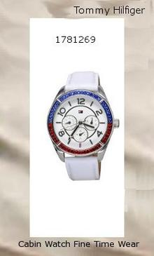 Product Specifications Watch Information Brand, Seller, or Collection Name Tommy Hilfiger Model number 1781269 Part Number 1781269 Item Shape Round Display Type Analog Case diameter 40 Case Thickness 12 Band Material Leather Band width 20 millimeters Band Color White Dial color White Special features White Dial Movement Quartz