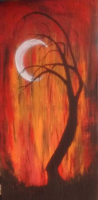 Sliver Moon done in acrylic by Cindy kennedy