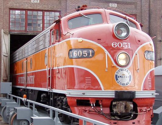 Southern Pacific 6051, an EMD E9 locomotive, enters the transfer table. Photo taken by Evan Jennings, Nov, 2006, Old Sacramento SP shops.