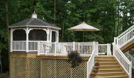 Wood Deck and Gazebo with White Vinyl Railing