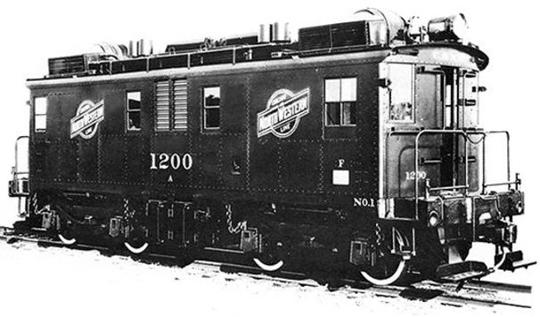 Builder's photo of Chicago and North Western Railroads's GE-Ingersoll Rand diesel-electric locomotive with road number 1200 delivered in August 1930.