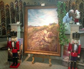 A large pastel painting by Lindy Cook Severns, custom framed under non-reflective museum glass.