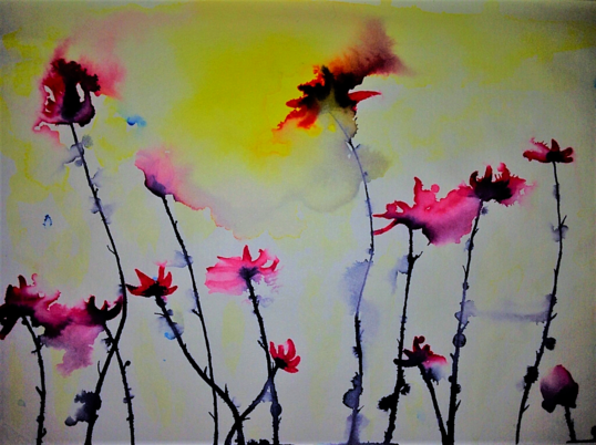 The Flowers. Watercolor on paper by Irish artist Orfhlaith Egan. Berlin, Germany.