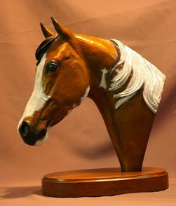 Paint pinto horse bronze sculpture