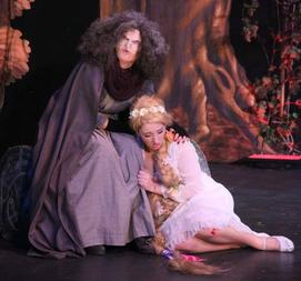 The Witch (Rebecca Evans) and Rapunzel (Mia Gregory)