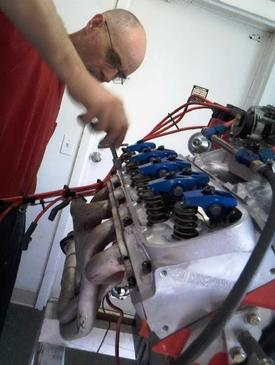 A custom engines builder at work
