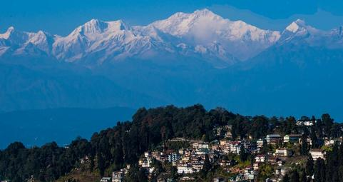 Darjeeling Town with view of Kunchenjunga Mountains