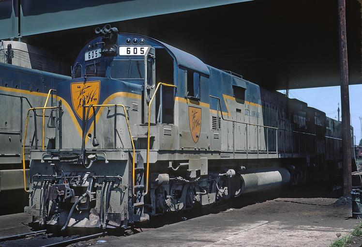 Delaware and Hudson No. 605, an ALCO C628 at Bevier St. Yard, Binghamton, NY, August 1971.