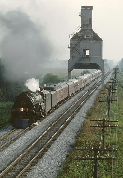 N&W 2-6-6-4 No. 1218, north of Marion, Ohio on August 16, 1987. Photo by Roger Puta.