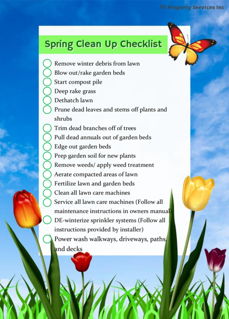 Spring Clean Up Check List | FT Property Services Inc.