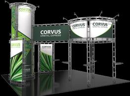 Corvus 20 x 20 Orbital Express island booth right side view.