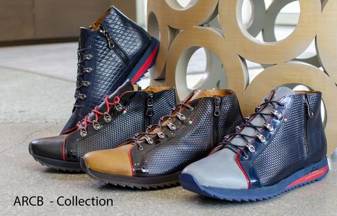 "Modern and cool, the ARCB Collection has some of our most incredible texture and color combinations. Armed with the same sole as the ARK Collection, each step you take will feel like walking on a cloud. The zippers on the ARCB made with the highest quality lightweight aluminum glide smoothly, making them a breeze to put on and take off. The lining is made of exceptionally soft ""vitello"" leather to assure the unforgettable comfort not commonly found in a boot style shoe. Buffed to perfection and hand dyed to our standards of quality, the ARCB is a exceptional choice for a wardrobe statement."