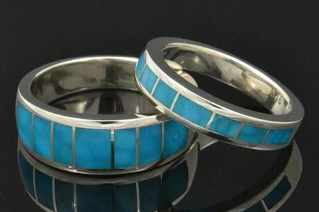 Birdseye turquoise wedding ring set in sterling silver by Hileman Silver Jewelry.