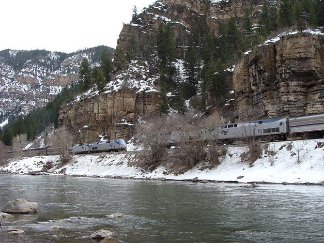 Amtrak's eastbound and westbound California Zephyrs meet in the Glenwood Canyon.