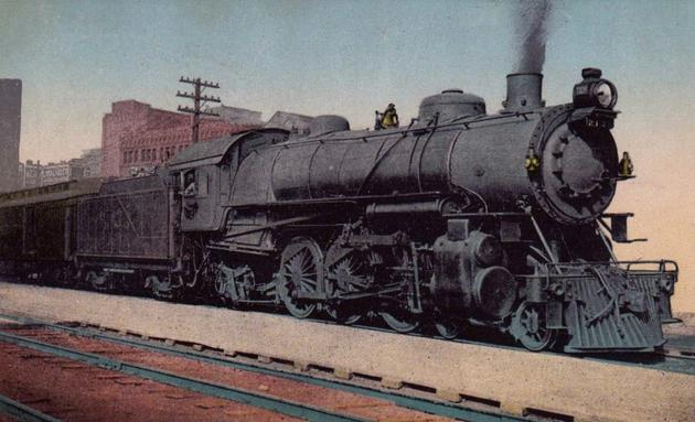 Baltimore & Ohio 4-6-2 Pacific Type1. Weight - 263,800 lbs, Length - 80 ft., Height of Driving Wheels - 74 inches.