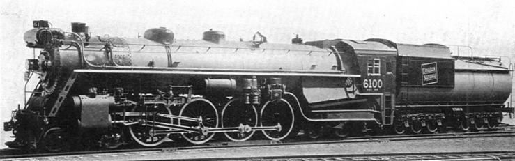 "A Canadian National Railways ""Confederation"" 4-8-4 Type Express Locomotive, built by the Canadian Locomotive Company, ca. 1928. Photo: Canadian Nat. Rys."