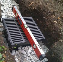 Water collection box in French Drain system.