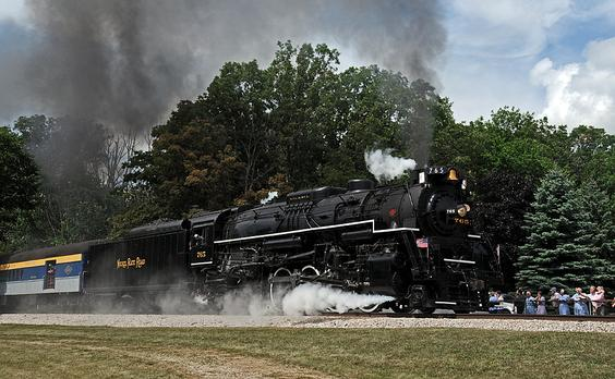 The Nickel Plate 765 is one of two remaining operating Berkshire steam locomotives. Operated by the Fort Wayne Railroad Historical Society in Indiana, 765 has pulled numerous trains over decades of excursion service. Photo by Drew Jacksich.